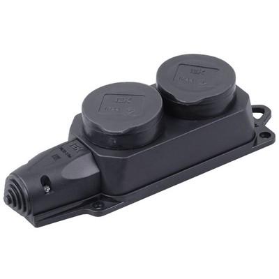 Розетка каучуковая двойная с крышками 2х2P+E, 16А, 250В, IP44, черная ИЭК Омега, двухпостовая