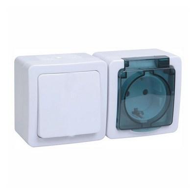 Блок выключатель ИЭК ГЕРМЕС PLUS 1-клавишный+ розетка 1-месная с з/к накладной IP54 (клавиша белая/крышка дымчатая) БГб-22-31-ГПБд