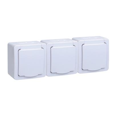 Розетка ИЭК ГЕРМЕС PLUS 3-постовая накладная с з/к влагозащищенная IP54 (цвет крышки: белый) РСб23-3-ГПБб