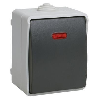 Выключатель одноклавишный ИЭК ФОРС 10А/250В с индикатором для открытой установки IP54 ВС20-1-1-ФСр