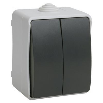 Выключатель двухклавишный ИЭК ФОРС 10А/250В для открытой установки IP54 ВС20-2-0-ФСр