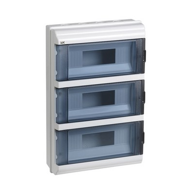 Бокс ИЭК КМПн, 36-модулей, IP55, пластиковый, навесной, прозрачная дверь
