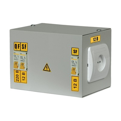 Ящик с понижающим трансформатором ИЭК, ЯТП-0,25 220/12-2 36 УХЛ4, IP30