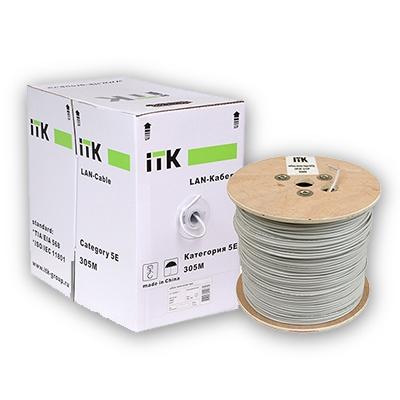 Кабель витая пара ITK ШПД UTP, внешней прокладки, категория-5E, 1х2х0,48мм solid, PVC, 500м серый