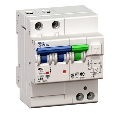 Дифференциальный автомат АВДТ КЭАЗ OptiDin VD63-22C16-A-УХЛ4 (2P, C16, 30mA)