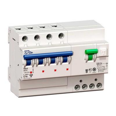 Дифференциальный автомат АВДТ КЭАЗ OptiDin VD63-42C16-A-УХЛ4 (4P, C16, 30mA)