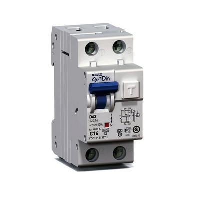 Дифференциальный автомат АВДТ КЭАЗ OptiDin D63-22C16-A-УХЛ4 (2P, C16, 30mA)