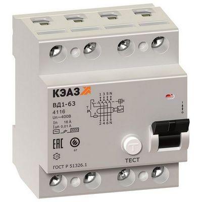 Выключатель дифференциального тока ВДТ УЗО КЭАЗ ВД1-63-4225-АС-УХЛ4 (4P, 25, 30mA)