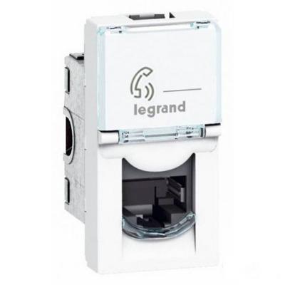 Розетка телефонная RJ 11 Legrand Mosaic 4 контакта 1 модуль белая