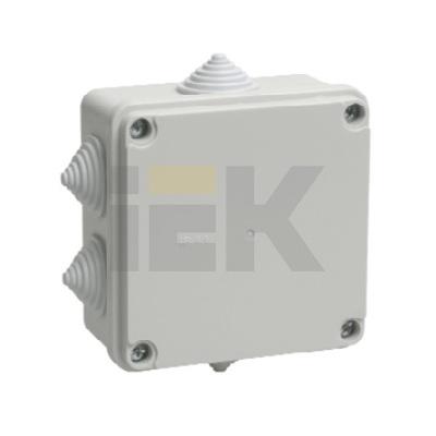 Коробка КМ41233 распаячная открытой проводки 100х100х56мм IP44 (6 гермовводов)