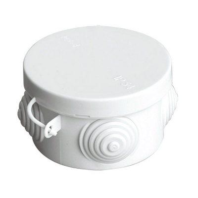 Коробка распаячная открытой проводки D85x40мм 4-гермоввода (с крышкой)