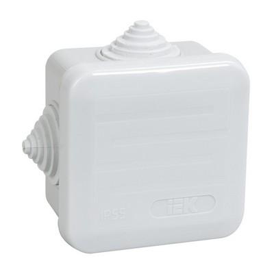 Коробка КМ41236 распаячная открытой проводки 70х70х44мм IP44 (4 гермоввода, защелкивающаяся крышка)