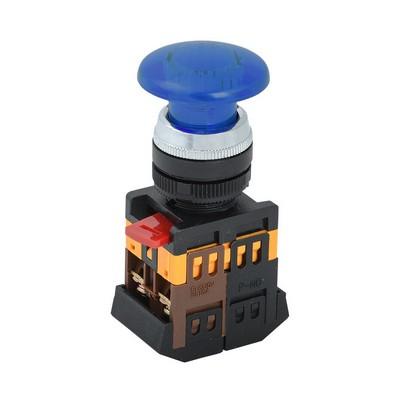 Кнопка управления ИЭК, AELA22 Грибок синий d22мм неон/240В 1з+1р