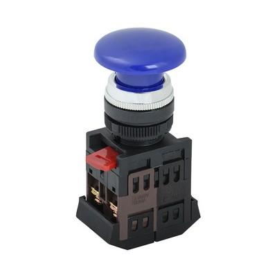Кнопка управления ИЭК, AEА-22 Грибок синий d22мм 1з+1р
