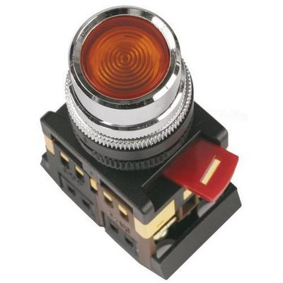 Кнопка управления ИЭК, ABLFS-22 красный d22мм неон/240В 1з+1р