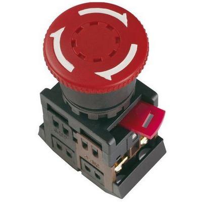 Кнопка управления ИЭК, AE-22 Грибок с фиксацией красная d22мм 240В 1з+1р