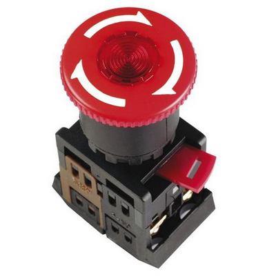 Кнопка управления ИЭК, ANE22 Грибокс фиксацией красная d22мм неон/240В 1з+1р