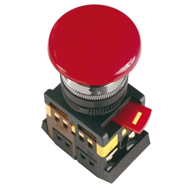 Кнопка управления ИЭК, AEAL22 Грибокс фиксацией красный d22мм 240В 1з+1р