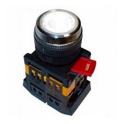 Кнопка управления ИЭК, ABLFS-22 белый d22мм неон/240В 1з+1р
