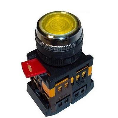 Кнопка управления ИЭК, ABLFS-22 желтый d22мм неон/240В 1з+1р