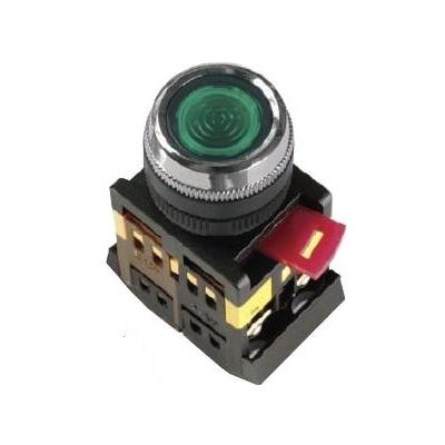 Кнопка управления ИЭК, ABLFS-22 зеленый d22мм неон/240В 1з+1р