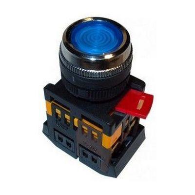 Кнопка управления ИЭК, ABLFP-22 синий d22мм неон/240В 1з+1р