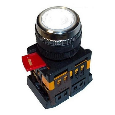 Кнопка управления ИЭК, ABLFP-22 прозрачный d22мм неон/240В 1з+1р