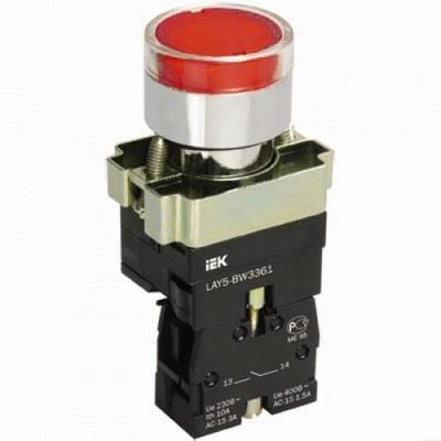 Кнопка управления ИЭК, LAY5-BW3461 с подсветкой красный 1з