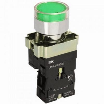 Кнопка управления ИЭК, LAY5-BW3361 с подсветкой зеленый 1з