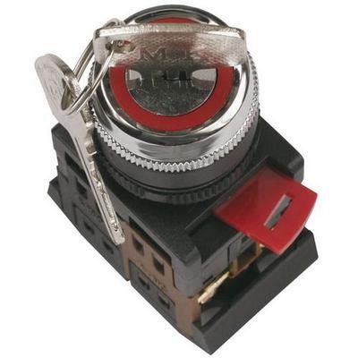 Переключатель ИЭК, АKS-22 черный, с ключем 2-положения I-O, 1з+1р