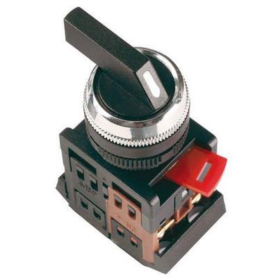 Переключатель ИЭК, АLС-22 черный, длинная рукоятка, 2-фиксированых положения I-O, 1з+1р