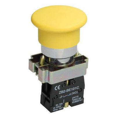 Кнопка управления ИЭК, LAY5-BC51Грибок без подсветки желтая 1з