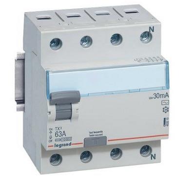 Выключатель дифференциального тока УЗО TX3 4-полюса 25A 30ma -AC LEGRAND