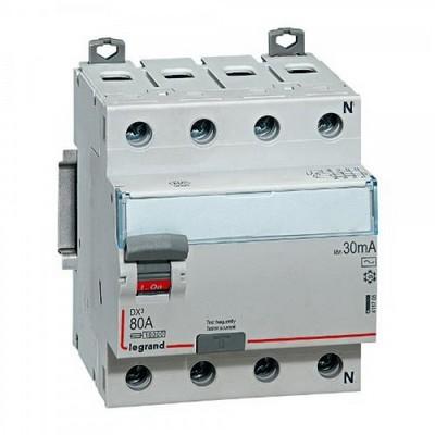 Выключатель дифференциального тока УЗО DX3 LEGRAND 4-полюса 40А AC 30мА N справа