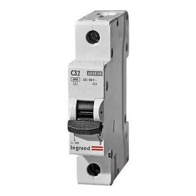 Автоматический выключатель Legrand C32А 1-полюсный, 6000/6kA, характеристика C