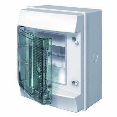 Бокс навесной ABB Mistral65, 4-модуля, пластиковый, IP65 влагозащищенный, прозрачная дверь, без клемм