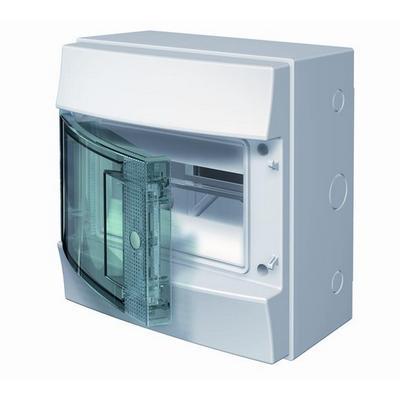 Бокс навесной ABB Mistral65, 8-модулей, пластиковый, IP65 влагозащищенный, прозрачная дверь, с клеммами