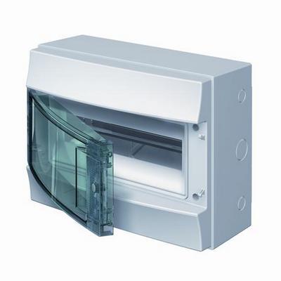 Бокс навесной ABB Mistral65, 12-модулей, пластиковый, IP65 влагозащищенный, прозрачная дверь, с клеммами