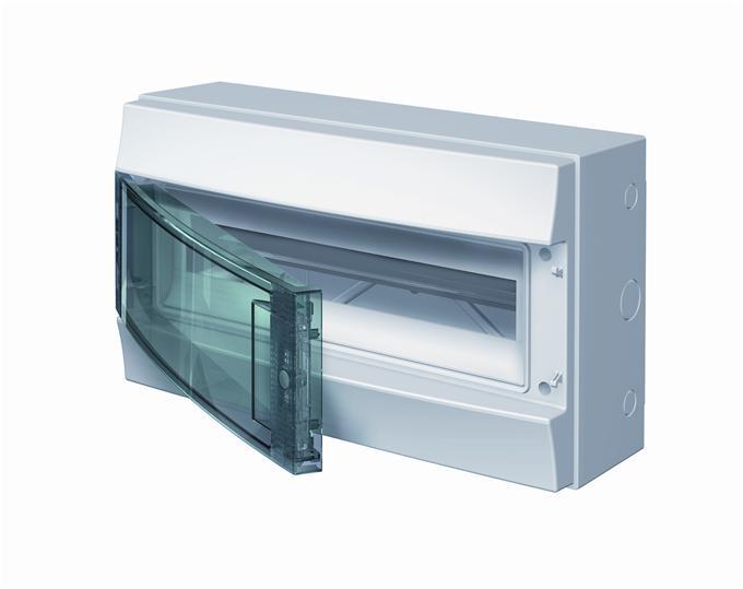 Бокс навесной ABB Mistral65, 18-модулей, пластиковый, IP65 влагозащищенный, прозрачная дверь, с клеммами
