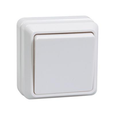 Выключатель ИЭК ОКТАВА, 1-клавишный 10А, открытой установки (белый)