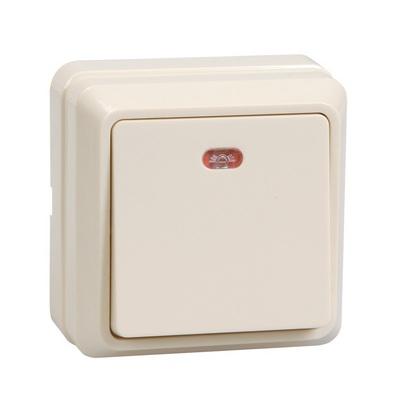 Выключатель ИЭК ОКТАВА, 1-клавишный с индикацией 10А, открытой установки (кремовый)