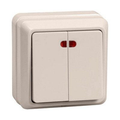 Выключатель ИЭК ОКТАВА, 2-клавишный с индикацией 10А, (кремовый)