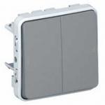 Выключатель Legrand Plexo проходной двухклавишный 10A IP55 влагозащищенный серый скрытый монтаж