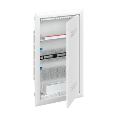 Шкаф в нишу мультимедийный ABB с дверью с вентиляционными отверстиями и DIN-рейкой UK620MV (2 ряда)