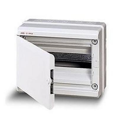 Бокс навесной ABB EUROPA IP65, влагозащищенный, 12-модулей, пластиковый, непрозрачная дверь, серый