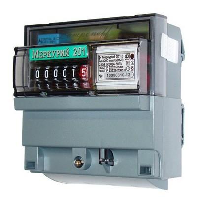 Счетчик электроэнергии Меркурий 201.5 5(60) 220В однофазный однотарифный прямого включения