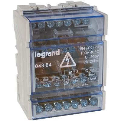 Распределительный блок кросс-модуль Legrand (4х7) 4-полюсный, 100 Ампер, 7 подключений
