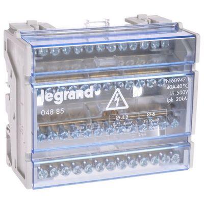 Распределительный блок кросс-модуль Legrand (4х13) 4-полюсный, 40 Ампер, 13 подключений