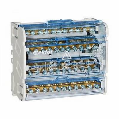 Кросс-модуль 4х7 на DIN-рейку Tekfor SNK-2-4-07 (5х5,3мм+2х9мм) 100 Ампер