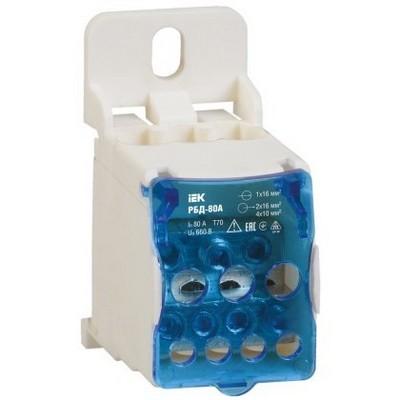 Блок распределительный (кросс-модуль) ИЭК на DIN-рейку РБД-80А